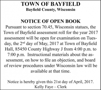 Notice of Open Book