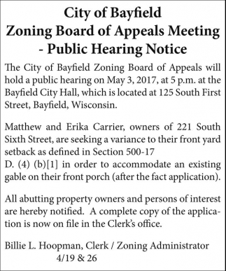 Zoning Board of Appeals Meeting