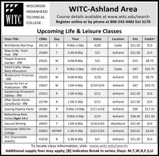 Upcoming Life & Leisure Classes