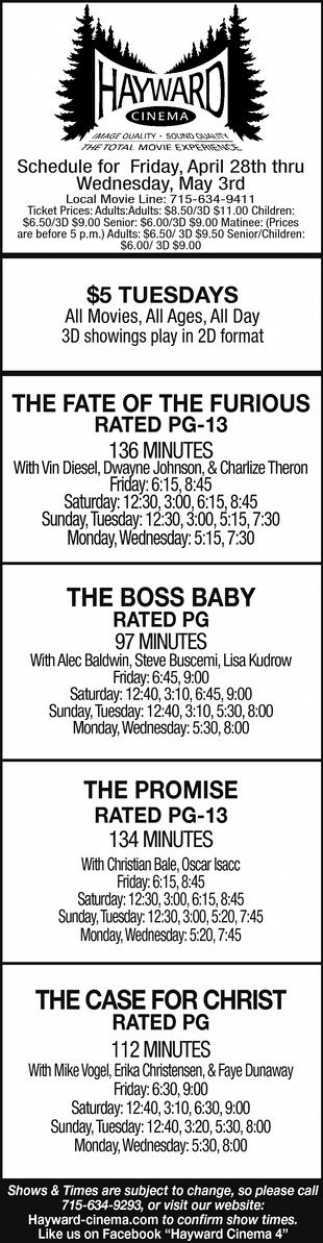 The Fate of The Furious, The Boss Baby, The Promise, The Case for Christ