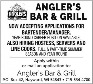 Hostess, Servers, Bartenders, Line Cooks