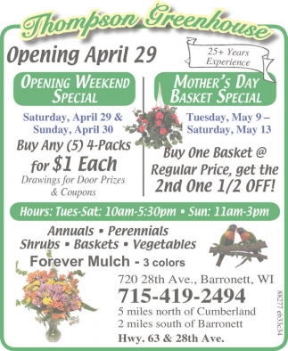 Opening April 29