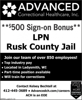 LPN Rusk County Jail