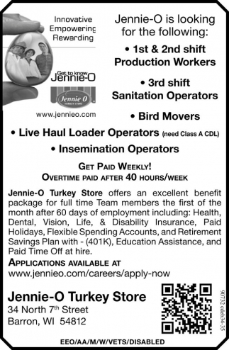 Production Workers, Sanitation Operators, Bird Movers, Live Haul Loader Operators, Insemination Operators