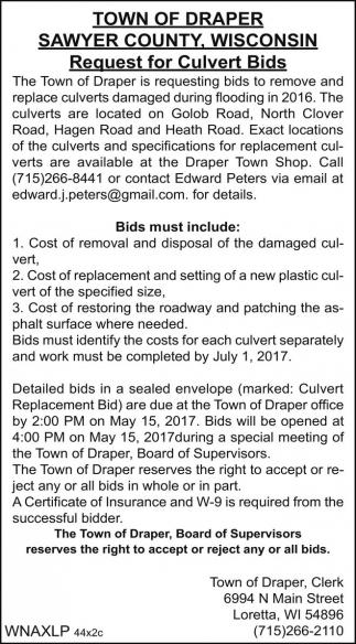 Request for Culvert Bids