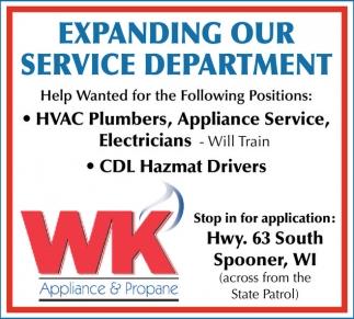 HVAC Plumbers, Appliance Service, Electricians, CDL Hazmat Drivers
