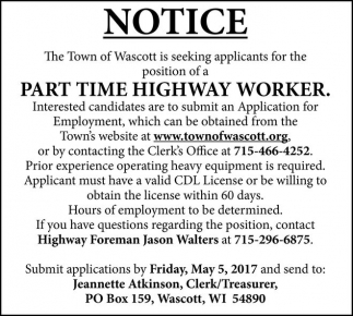 Part Time Highway Worker