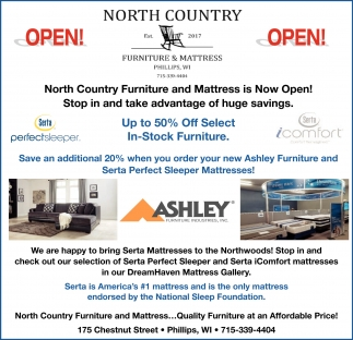 Up to 50% off select in stock furniture North Counry Furniture