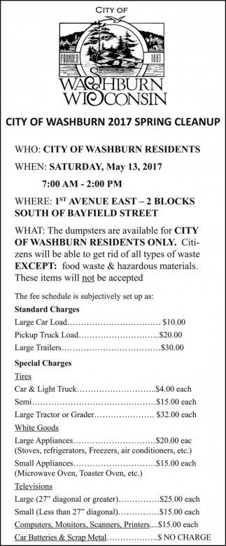 City Of Washburn 2017 Spring Cleanup
