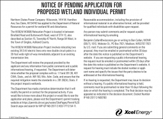 Notice of Pending Application for Propesed Wetland Individual Permit