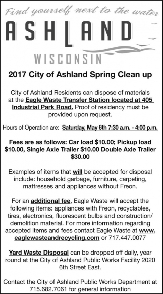 2017 City of Ashland Spring Clean Up