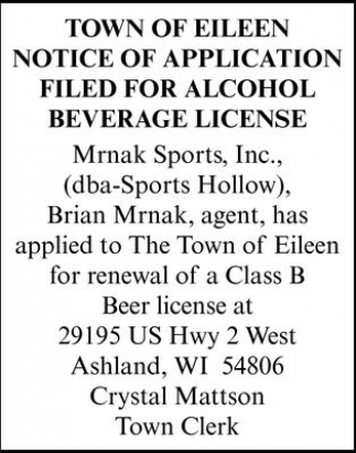 Notice of Application filed for alcohol beverage license