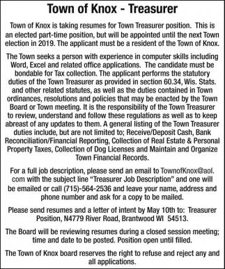 Treasurer Town Of Knox Brantwood Wi