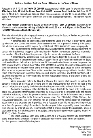 Notice of the Open Book and Board of Review for the Town of Clover