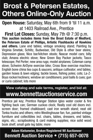 Brost & Petersen Estates, Others Online-Only Auction