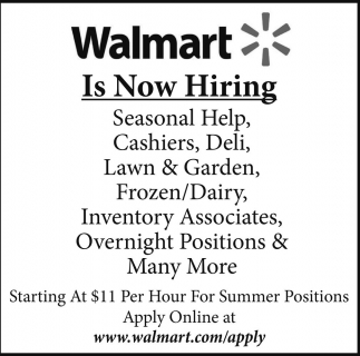 walmart hayward jobs ads from sawyer county record - Walmart Overnight Jobs
