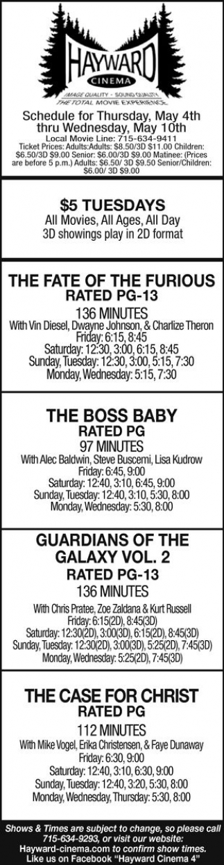 The Fate of The Furious, The Boss Baby, Guardians of The Galaxy Vol. 2, The Case for Christ