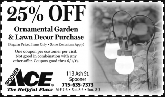 25% Off Ornamental Garden & Lawn Decor Purchase