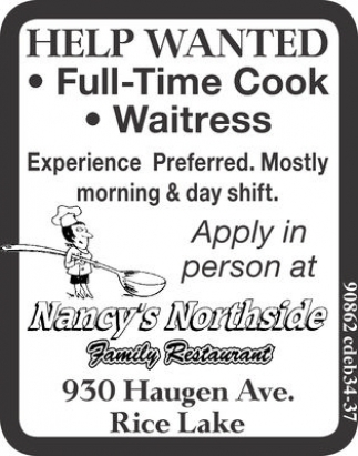 Full Time Cook / Waitress