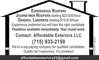 Journeymen Roofers, General Laborers