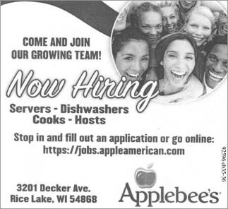 Servers, Dishwashers, Cooks, Hosts