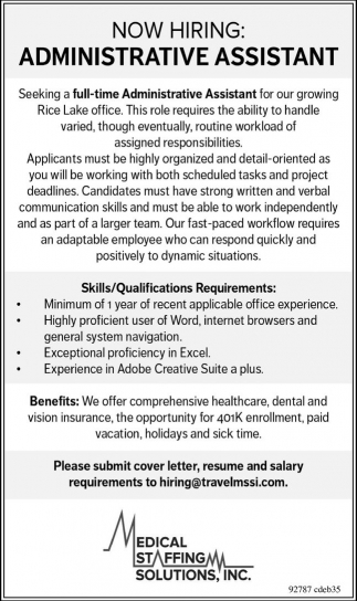 Assistant, Medical Staffing Solutions, Inc, Rice Lake, WI
