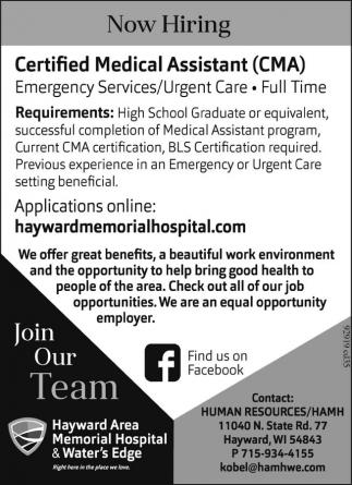 Certified Medical Assistant Cma Hayward Area Memorial Hospital