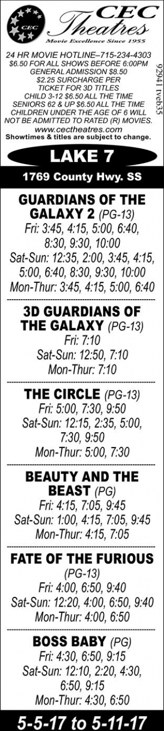 Guardians of The Galaxy 2, The Circle, Beauty and The Beast, Fate of The Furious, Boss Baby
