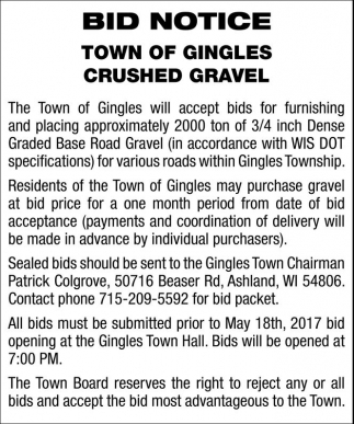 Bid Notice, Crushed Gravel