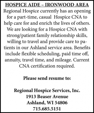 HOSPICE AIDE, Regional Hospice Services, Spooner, WI