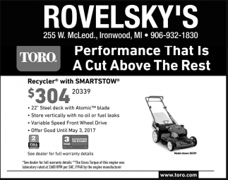 Toro Performance That Is A Cut Above The Rest, Rovelsky's