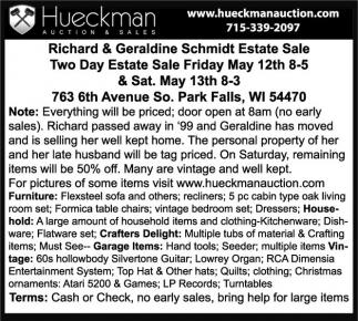 Richard & Geraldine Schmidt Estate Sale