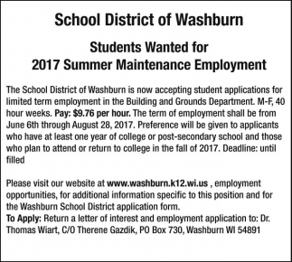 Students Wanted for 2017 Summer Maintenance Employment