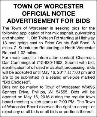 Official Notice Advertisement for Bids
