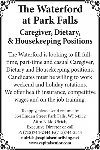 Caregiver, Dietary, & Housekeeping