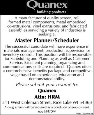 Master Planner / Scheduler
