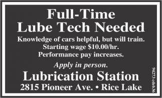 Full-Time Lube Tech