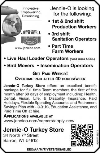 Production Workers, Sanitation Operators, Farm Workers, Live Haul Loader Operators, Bird Movers, Insemination Operators