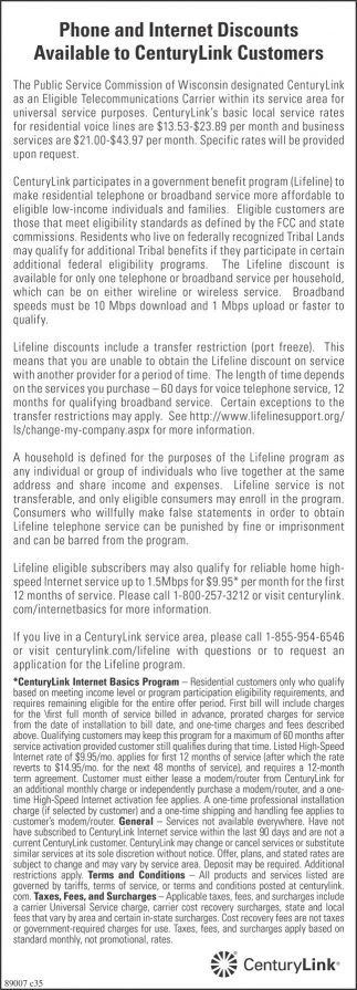 Phone and Internet Discounts