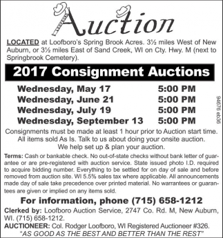 2017 Consignment Auctions