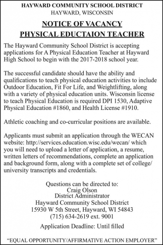 Physical Education Teacher Hayward Community School District