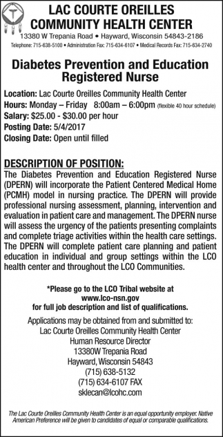 Diabetes Prevention and Education, Registered Nurse