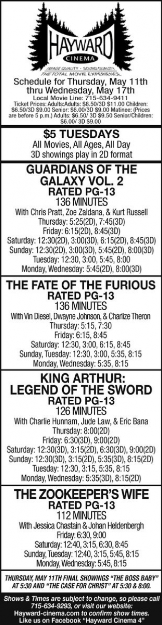 Guardians of The Galaxy Vol. 2, The Fate of The Furious, King Arthur: Lehend of The Sword, The Zookeper's Wife