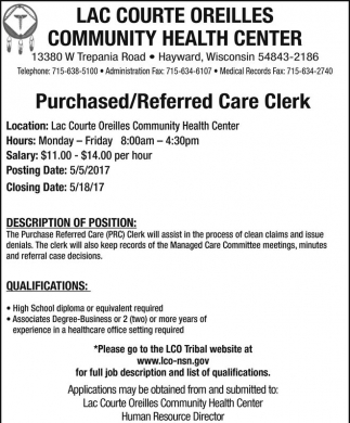 Purchased/Referred Care Clerk