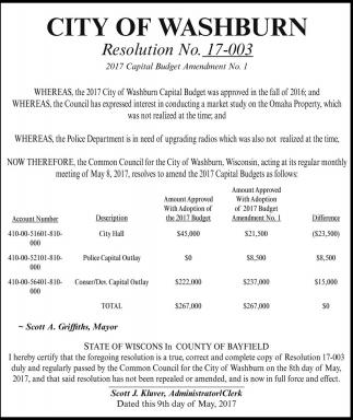 Resolution No. 17-003