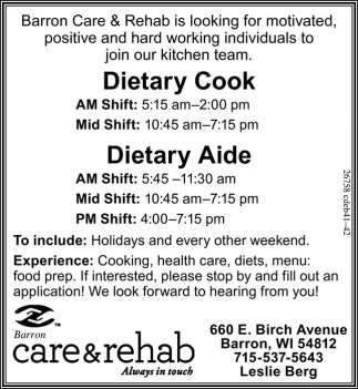 Dietary Cook - Dietary Aide