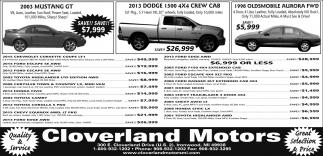 Mustang, Dodge, Oldsmobile Aurora