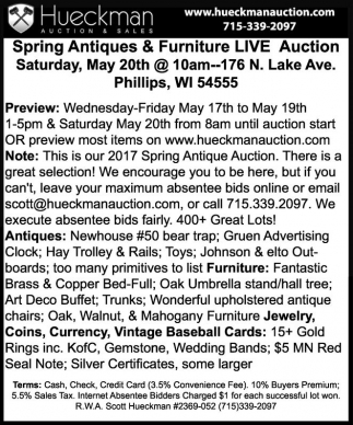 Spring Antiques & Furniture Live Auction