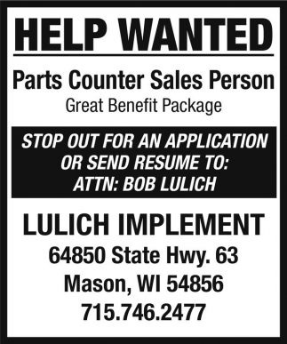Parts Counter Sales Person