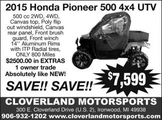 2015 Honda Pioneer 500 4x4 UTV